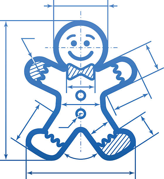 Gingerbread man with dimension lines Element of blueprint drawing in shape of holiday cookie. Qualitative vector (EPS-10) illustration for new year's day, christmas, decoration, winter holiday, design, new year's eve, silvester, etc. It has only gradients gingerbread man stock illustrations