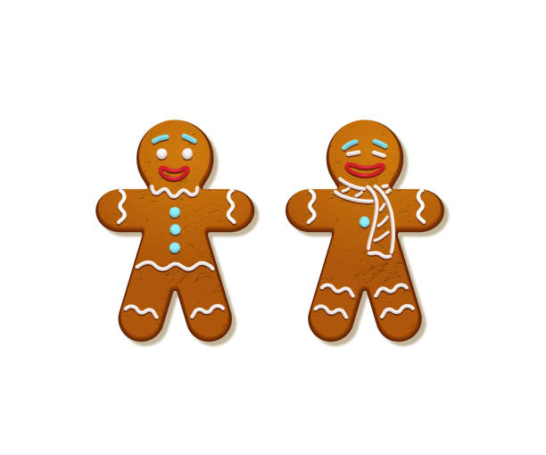 Gingerbread men. Vector Christmas and New Year holiday elements. Gingerbread men. Vector Christmas and New Year holiday elements. gingerbread man stock illustrations