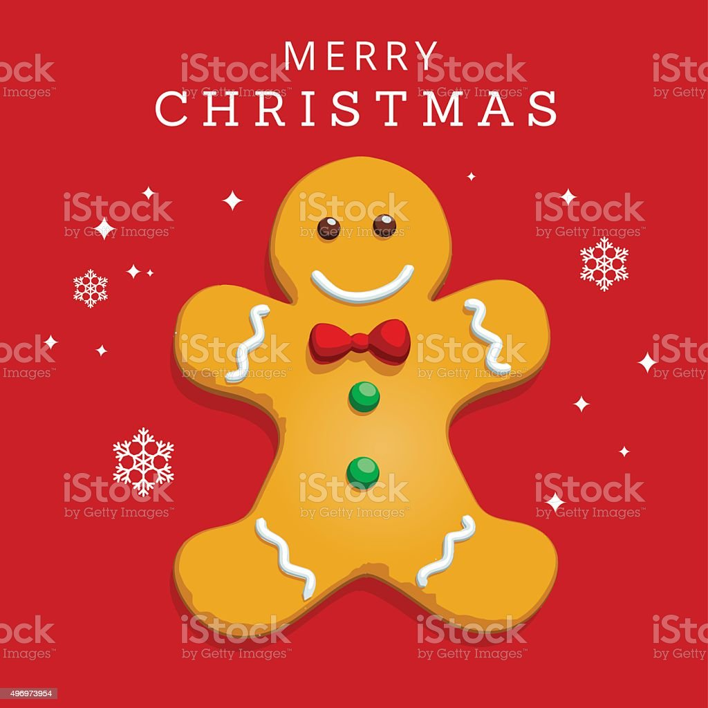 Gingerbread Merry Christmas Greeting Card vector art illustration