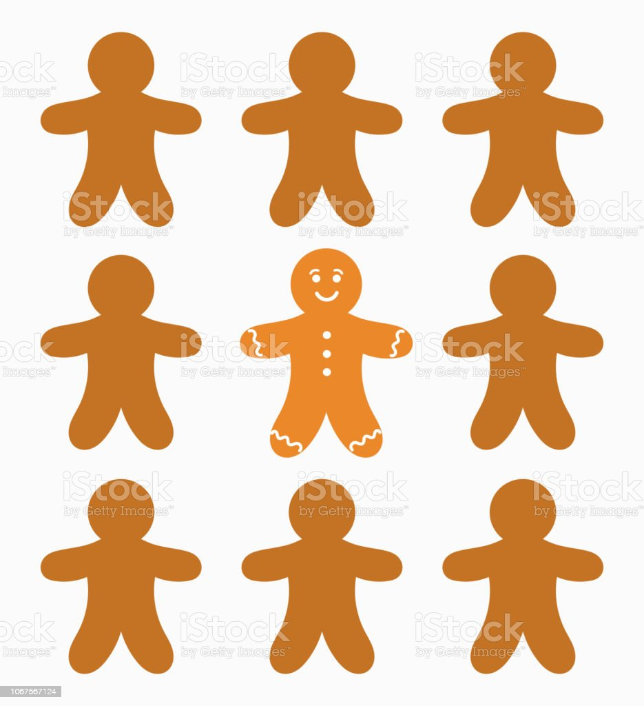 Gingerbread people and the one Baked gingerbread man cookies . Vector illustration Baked stock vector