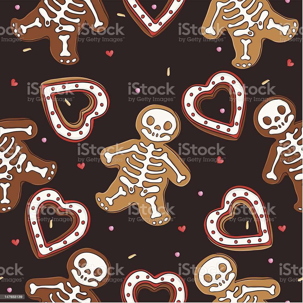 Gingerbread seamless pattern for halloween design royalty-free stock vector art