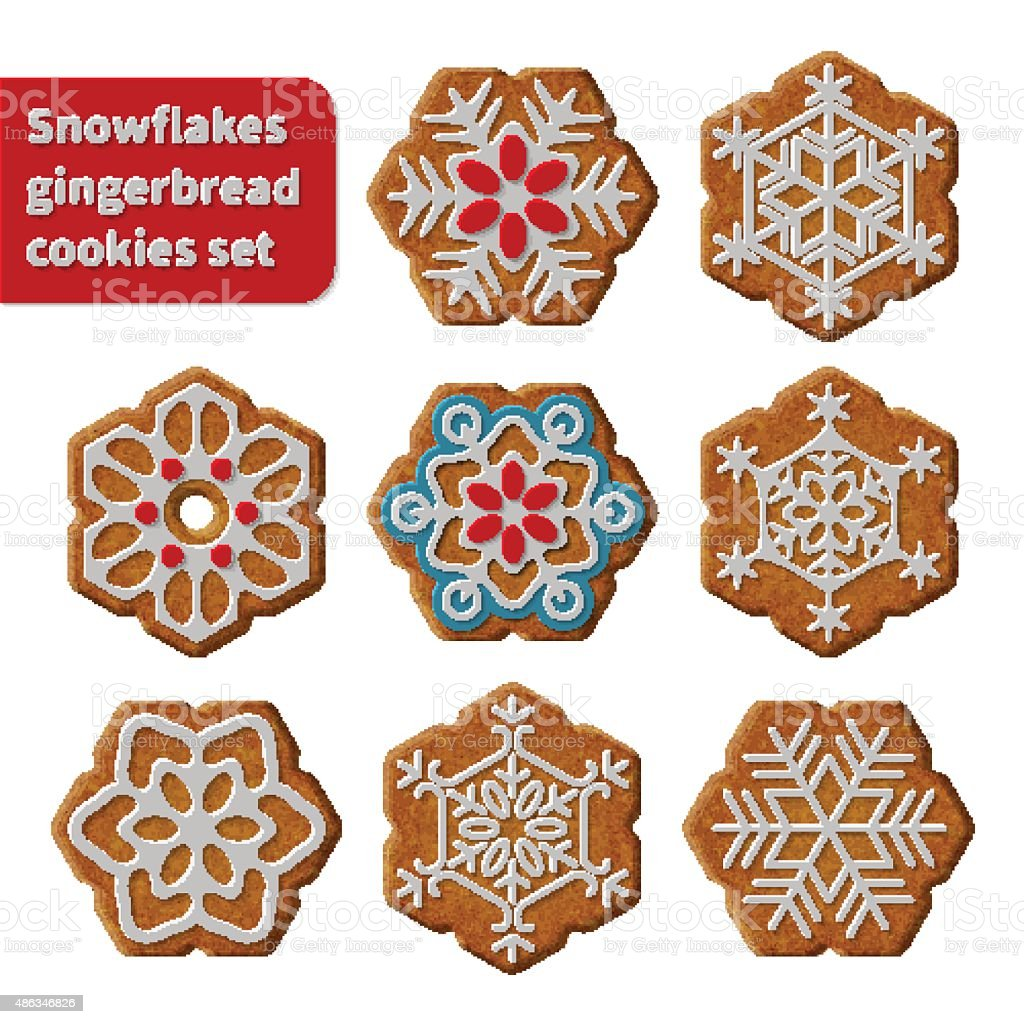 Gingerbread snowflakes cookies vector art illustration