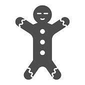 Gingerbread solid icon. Ginger cookie in shape of man symbol, glyph style pictogram on white background. Christmas holiday item sign for mobile concept and web design. Vector graphics