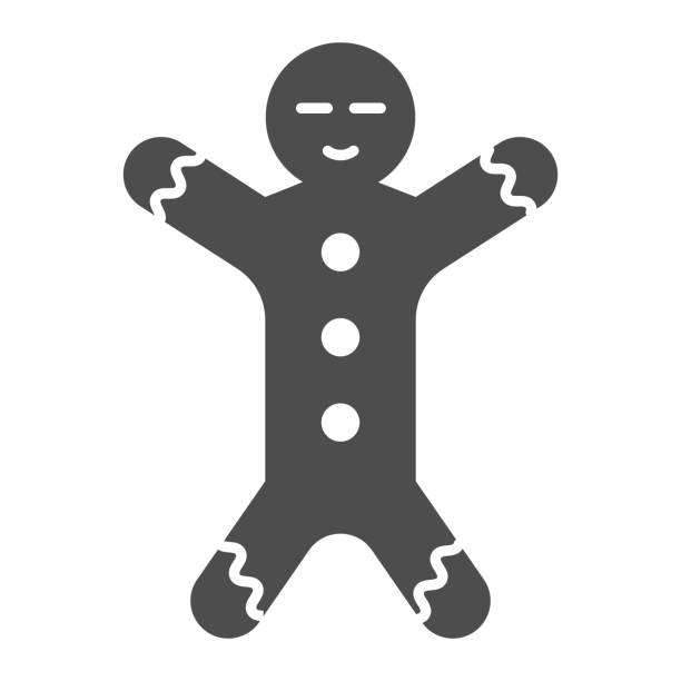 Gingerbread solid icon. Ginger cookie in shape of man symbol, glyph style pictogram on white background. Christmas holiday item sign for mobile concept and web design. Vector graphics. Gingerbread solid icon. Ginger cookie in shape of man symbol, glyph style pictogram on white background. Christmas holiday item sign for mobile concept and web design. Vector graphics decorating a cake stock illustrations