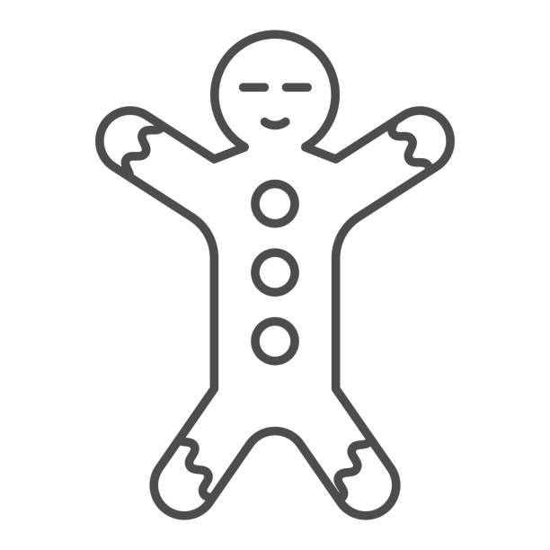 Gingerbread thin line icon. Ginger cookie in shape of man symbol, outline style pictogram on white background. Christmas holiday item sign for mobile concept and web design. Vector graphics. Gingerbread thin line icon. Ginger cookie in shape of man symbol, outline style pictogram on white background. Christmas holiday item sign for mobile concept and web design. Vector graphics decorating a cake stock illustrations