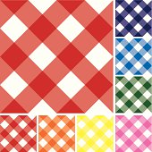 Set of gingham checked background repeatable tiles. Red, navy blue, blue, green, pink, yellow, orange.