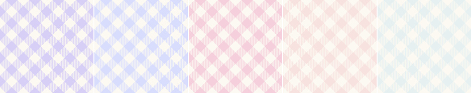 Gingham pattern set in pale blue, pink, purple, green, off white. Seamless light vichy checks for spring summer picnic blanket, oilcloth, gift paper, wallpaper, other modern fashion fabric print.