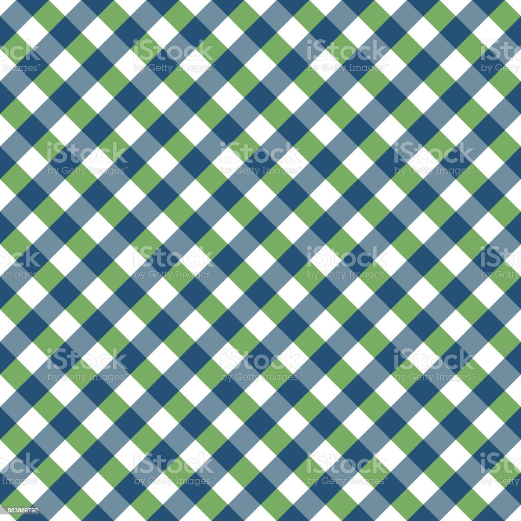 Gingham Tablecloth Seamless Argyle Pattern In Blue And Green vector art illustration