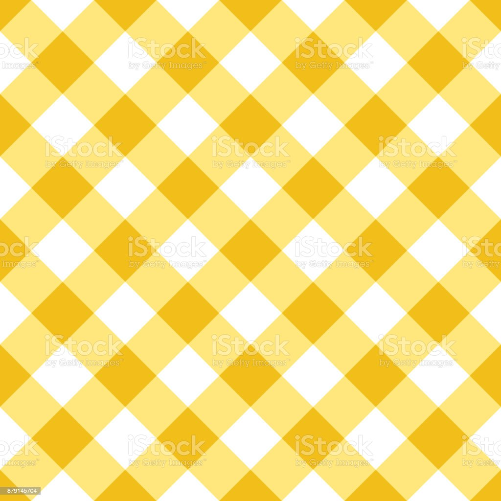 Gingham Tablecloth Seamless Argyle Pattern In Yellow And White Stock