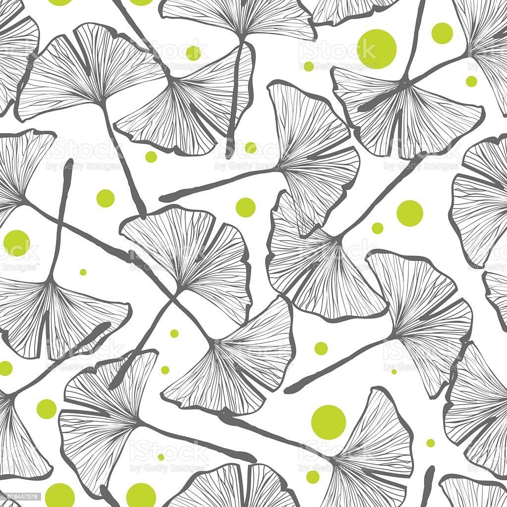 Gingko biloba seamless vector background pattern vector art illustration