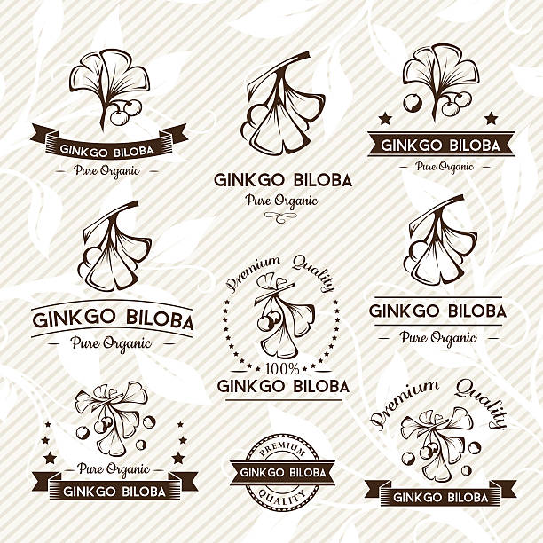 Ginkgo biloba. Badges and labels, emblems collection. Ginkgo biloba. Badges and labels, emblems collection. Vector decorative isolated elements for package design. Monochrome version ginkgo stock illustrations