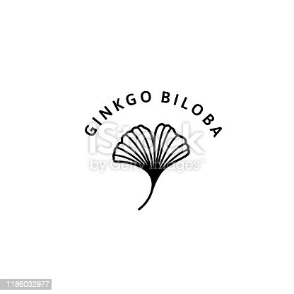 Ginkgo Biloba Leaf herbal organic badge and icon in trendy minimalist linear style. Vector Logo Emblem of gingko. Can be Used Template for packing Cosmetics, Medicines, organic food
