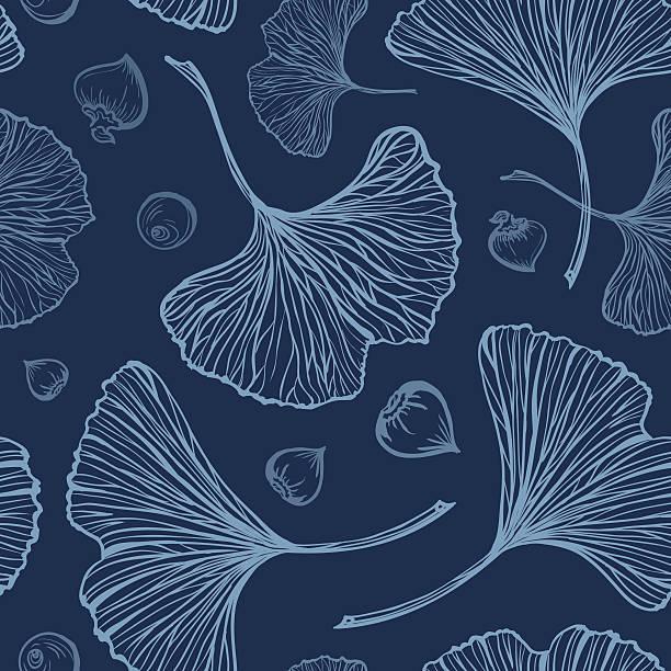 Ginkgo leaves vector seamless pattern Ginkgo leaves vector seamless pattern on a dark background ginkgo stock illustrations