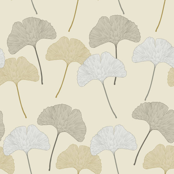 Ginko leaves floral imprint ornament Ginko leaves floral imprint ornament. Seamless interior wallpaper ginkgo stock illustrations