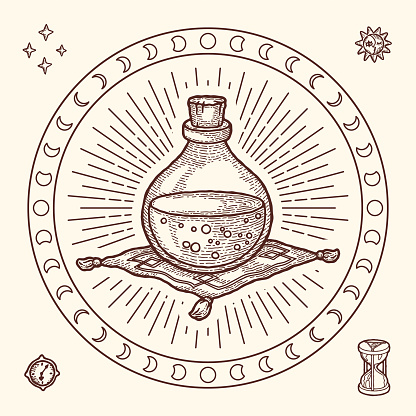 Gipsy style Magic Symbol of Glass Bottle with Poison Potion. Engraving style, Boho and Vintage. Astrological Mystery Set with Dial, Hourglass, Star, Sun and Moon. Print for T-shirt, Poster, Tarot card