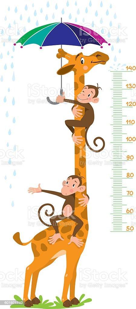 Giraffe and monkeys. Meter wall or height chart vector art illustration