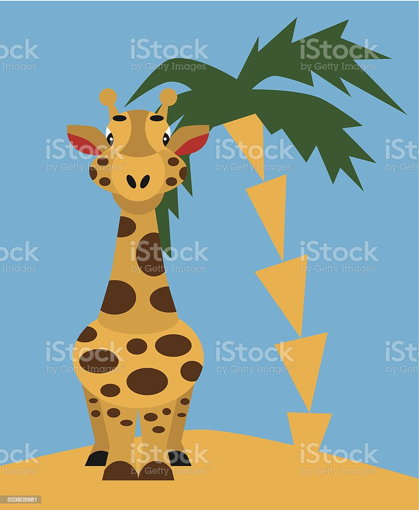 giraffe and palm royalty-free stock vector art
