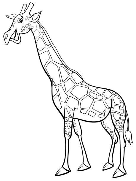 giraffe tier charakter cartoon malbuch - giraffenhumor stock-grafiken, -clipart, -cartoons und -symbole