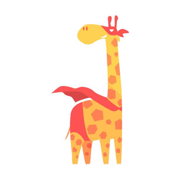 giraffe animal dressed as superhero with a cape comic - giraffenkostüm stock-grafiken, -clipart, -cartoons und -symbole