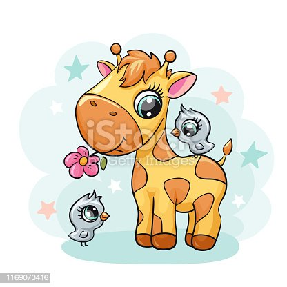 Giraffe baby with bird and flower cute print. Sweet tiny friends with star. Cool african animal illustration for nursery t-shirt, kids apparel, birthday card, invitation. Simple for pajamas and playroom decor
