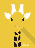 giraffe cartoon face, flat animal face icon vector