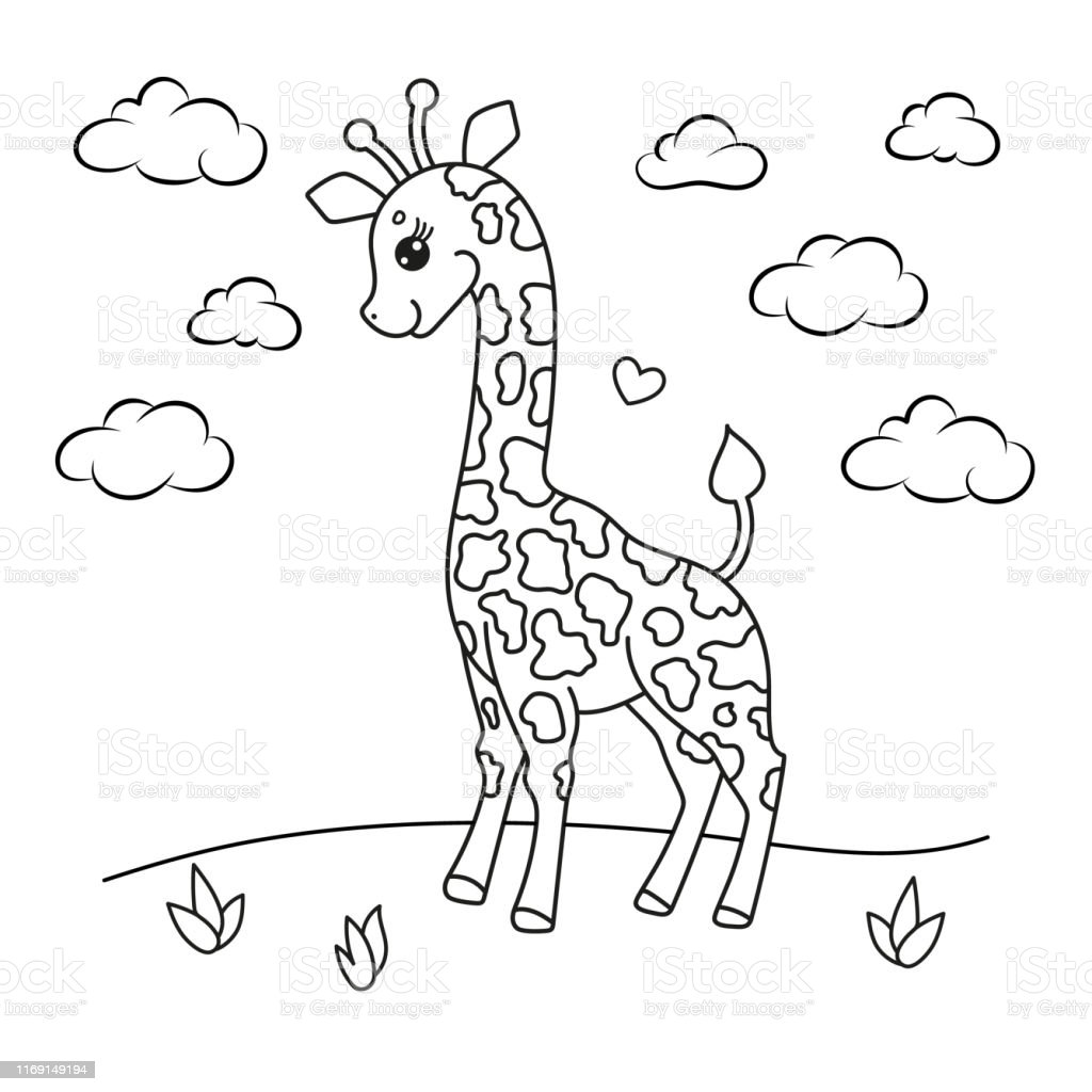 Giraffe Coloring Book Page Vector Illustration Stock Illustration -  Download Image Now - IStock