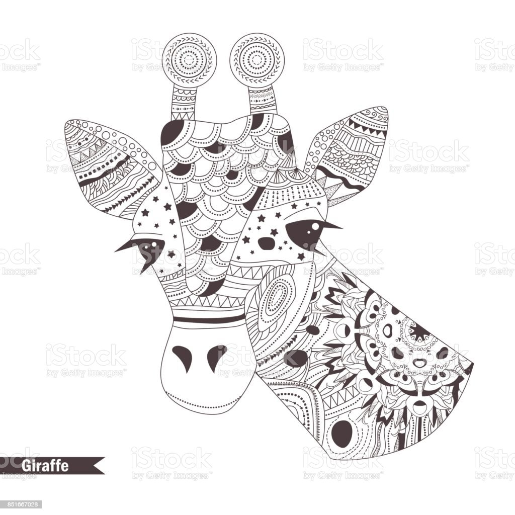 Giraffe Coloring Book Stock Illustration - Download Image Now - IStock