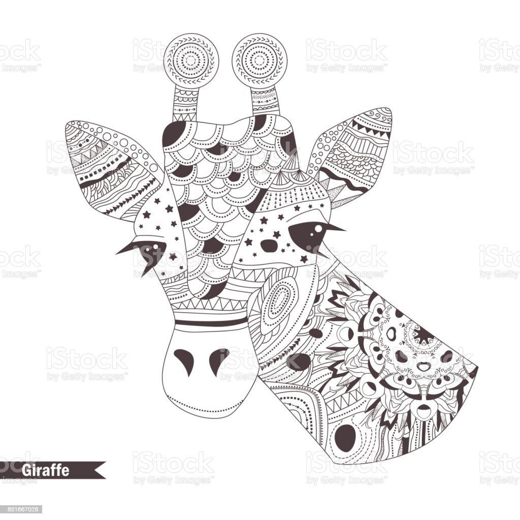 Zürafa Boyama Kitabı Stok Vektör Sanatı Animasyon Karakternin