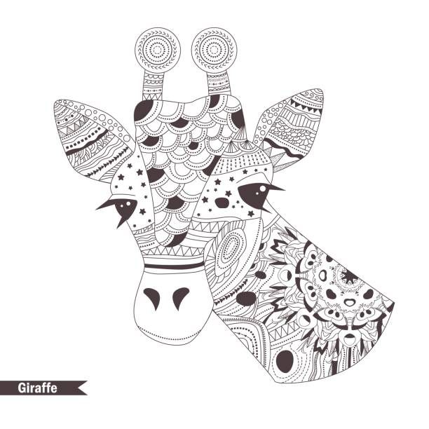giraffe coloring book vector id