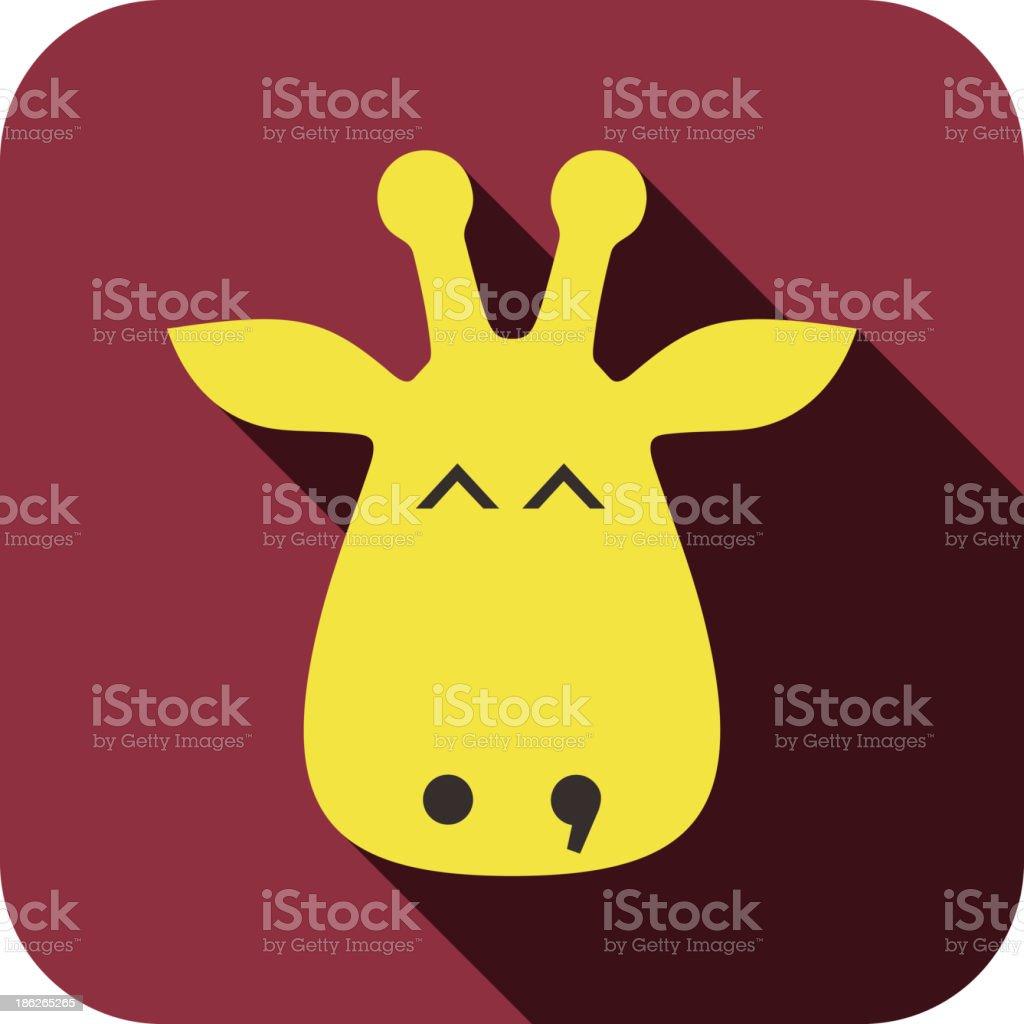 giraffe face flat icon design. Animal icons series. royalty-free stock vector art
