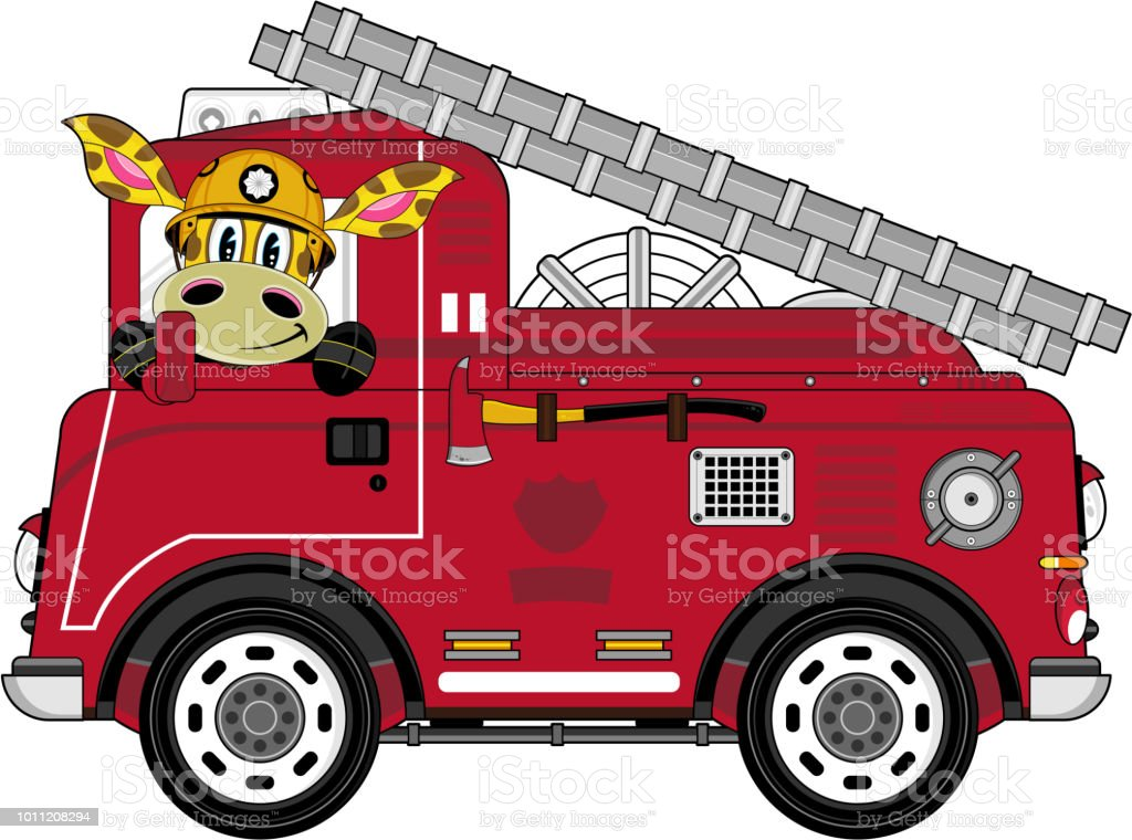 Giraffe Fireman And Fire Truck Stock Vector Art & More