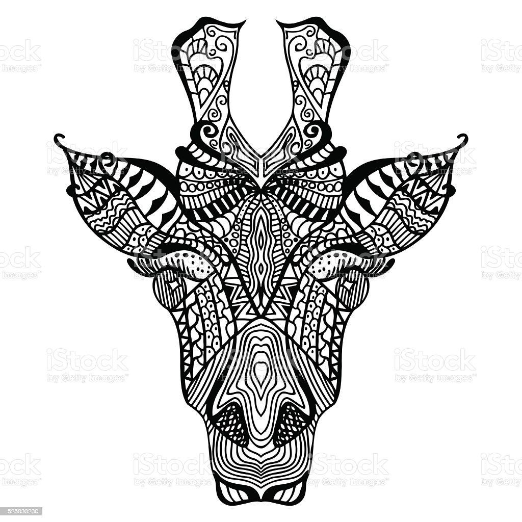 Coloriage Adulte Girafe.Girafe Girafe Dessine A La Main Cliparts Vectoriels Et