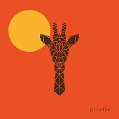 Giraffe head geometric lines silhouette isolated on orange background. Poster giraffe on the background of the sun.  Abstract geometric polygonal triangle illustration for use in design for card, invitation, poster, banner.