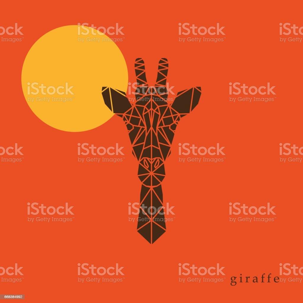 Giraffe head geometric lines silhouette isolated on orange background. Poster giraffe on the background of the sun.  Abstract geometric polygonal triangle illustration for use in design for card, invitation, poster, banner. - illustrazione arte vettoriale
