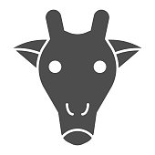 Giraffe head solid icon. Cute african animal face simple silhouette. Animals vector design concept, glyph style pictogram on white background, use for web and app. Eps 10