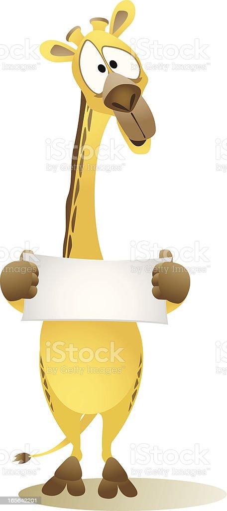 Giraffe holding a small blank banner vector art illustration