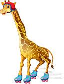 A giraffe ice skating illustration