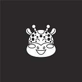 giraffe icon. Filled giraffe icon for website design and mobile, app development. giraffe icon from filled animals collection isolated on black background.