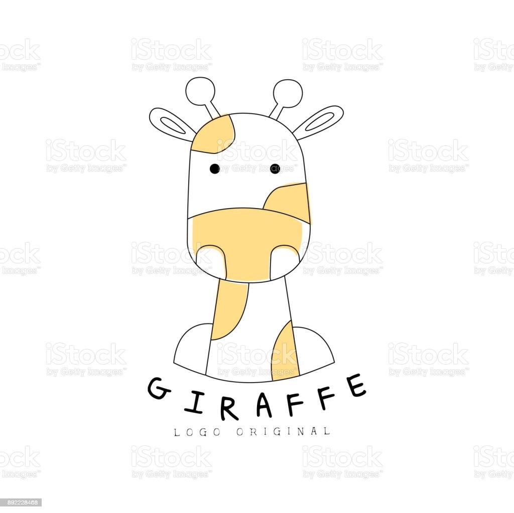 キリン アイコン元かわいい動物バッジ簡単デザイン手描画ベクトル図の