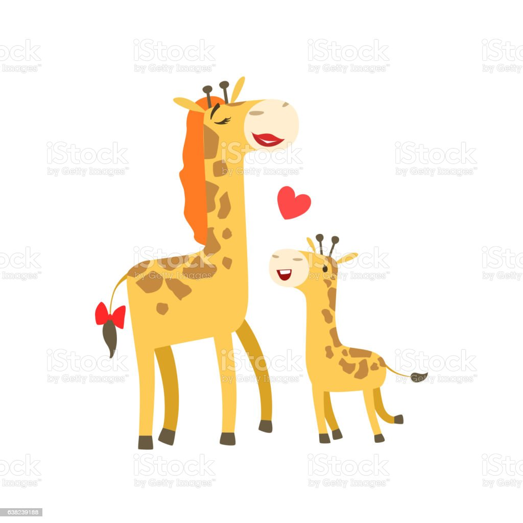 Giraffe Mom With Lipstick Animal Parent And Its Baby vector art illustration