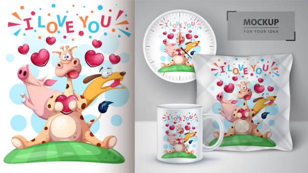 giraffe, schwein, hund - mockup für ihre idee - herzkissen stock-grafiken, -clipart, -cartoons und -symbole