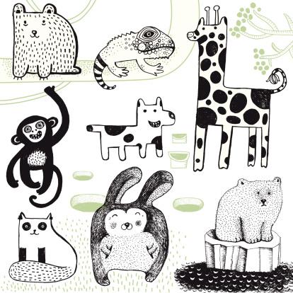 Giraffe, rabbit, polar bear, monkey, dog, bear and chameleon.