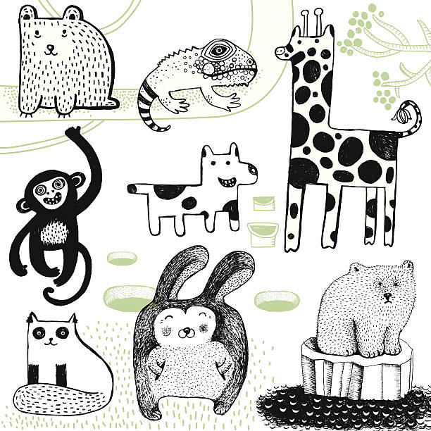 Giraffe, Kaninchen, polar bear, Affen, Hunde, Bären und Chamäleon. – Vektorgrafik
