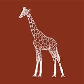 giraffe silhouette, sign, logo, emblem, pictogram vector illustration on brown background