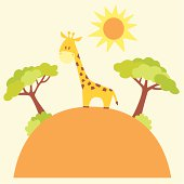 Vector illustration of cute giraffe in the savanna