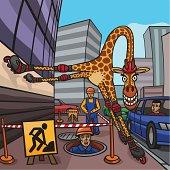 giraffe on roller skates