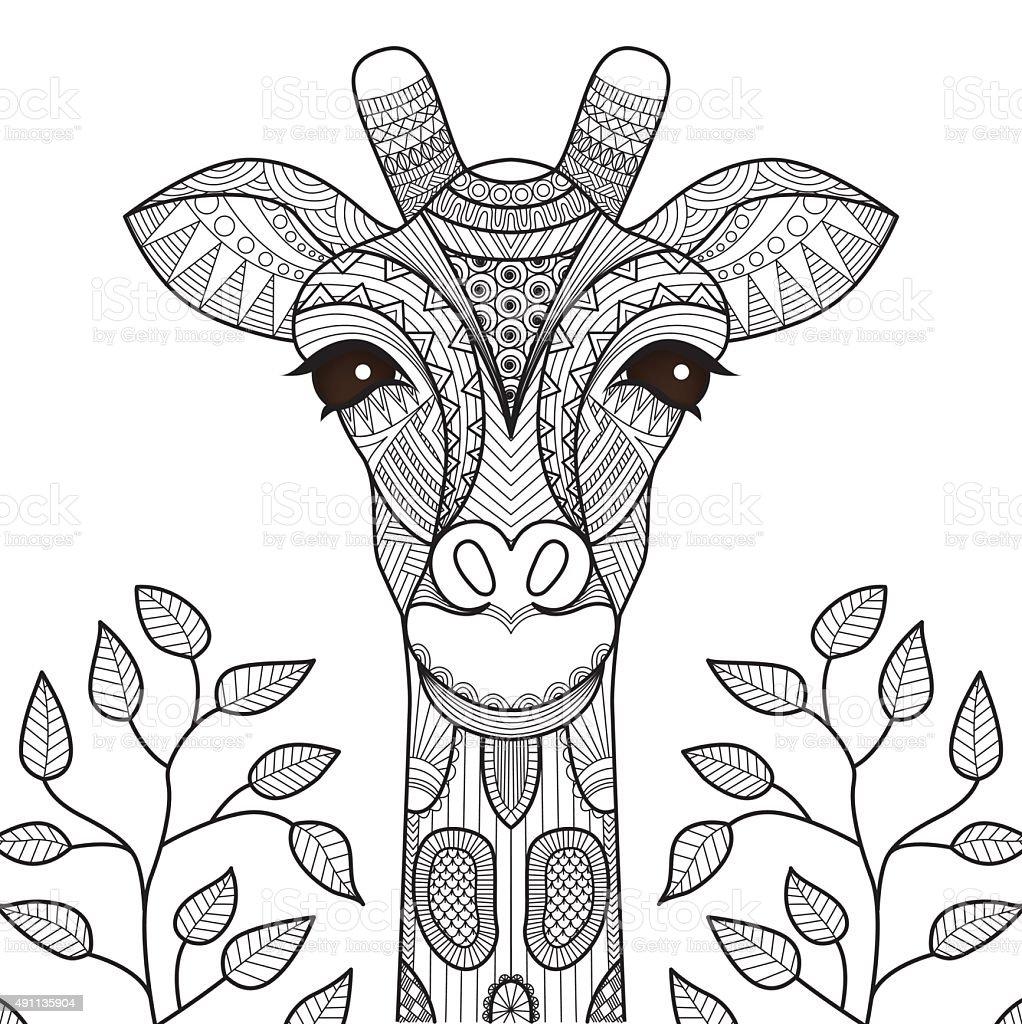 Giraffe stock vector art more images of 2015 491135904 for Giraffe mandala coloring pages