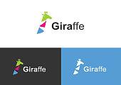 giraffe colorful icon flat vector