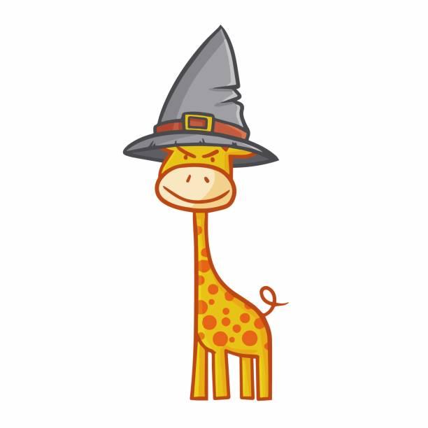 giraffe tragen hexenhut - giraffenkostüm stock-grafiken, -clipart, -cartoons und -symbole