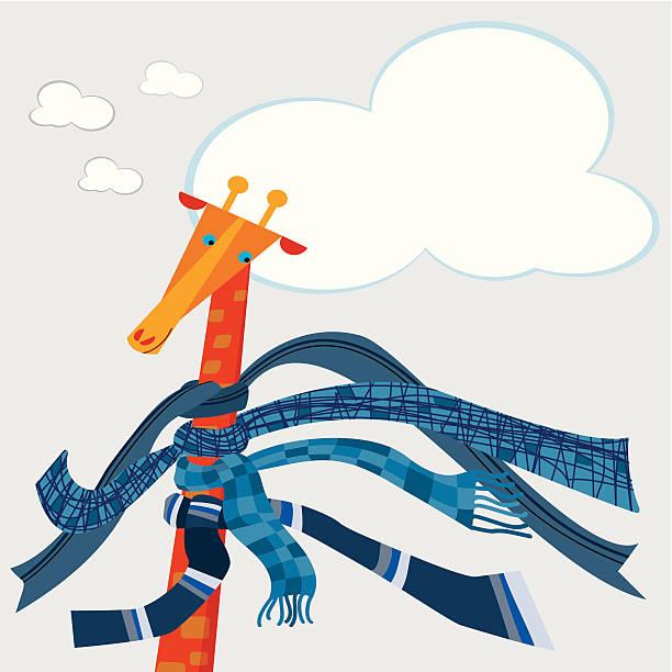 ilustraciones, imágenes clip art, dibujos animados e iconos de stock de jirafa, invierno y scarves - tintanegra00